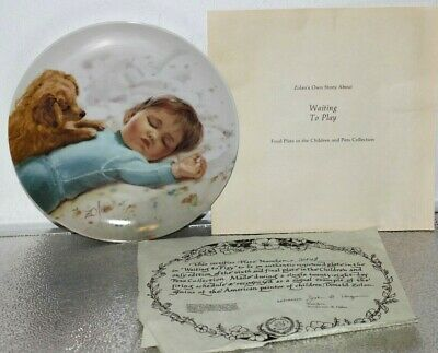"""1986 """"Waiting to Play"""" by Donald Zolan. Pemberton & Oakes Collector Plate & COA"""