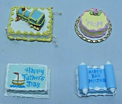 Dollhouse Miniature Lot of 4 Cakes Birthday Mom Fathers Day Bar Mitzvah
