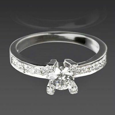Solitaire And Accents Diamond Ring Round Shape 14 Kt White Gold Anniversary
