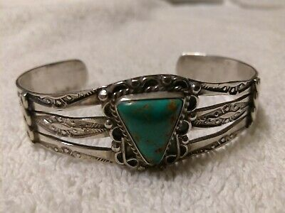 1920's Navajo Coinsilver Bracelet with Untreated Cerrillos Turquoise