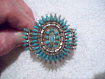 VINTAGE NAVAJO TURQUOISE CUFF / BRACELET STERLING SILVER - Circa 1940