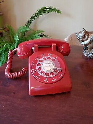 Vintage Bell System Western Electric Rotary Desk Telephone Red Clean Phone