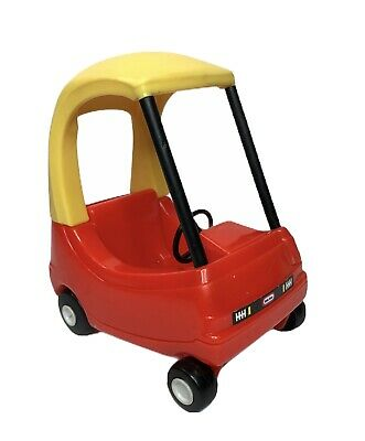 "Vintage Little Tikes Cozy Coupe Dollhouse Mini Size 6"" Car Red Yellow Miniature"