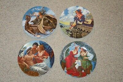 Set Of Four (4) Longton Crown Pottery Canterbury Collector Plates by G.A. Hoover
