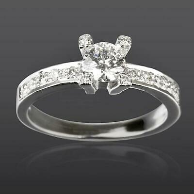 Diamond Ring Solitaire And Accents Round Cut 14K White Gold Size 5.5 6.5 7 9