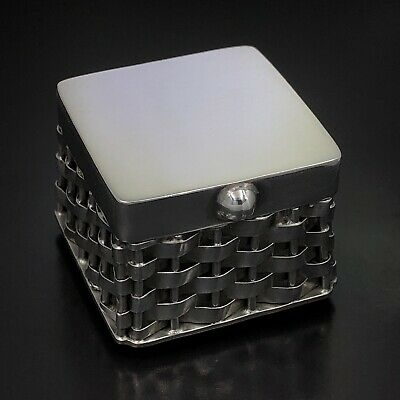 VINTAGE TAXCO Mexico Solid 925 Sterling Silver Square Weaved Pill Trinket Box
