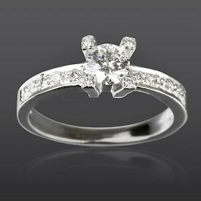1.06 Ct Women Vvs1 D Solitaire And Accents Diamond Ring 4 Prong 14K White Gold