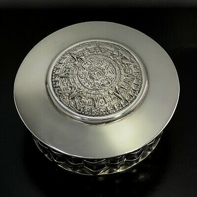 VINTAGE TAXCO Mexico Solid 925 Sterling Silver Round Weaved Pill Trinket Box