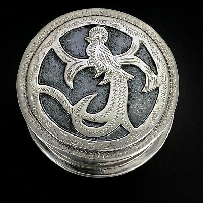 VINTAGE Solid 925 Sterling Silver Round Oxidized Etched Bird Pill Trinket Box