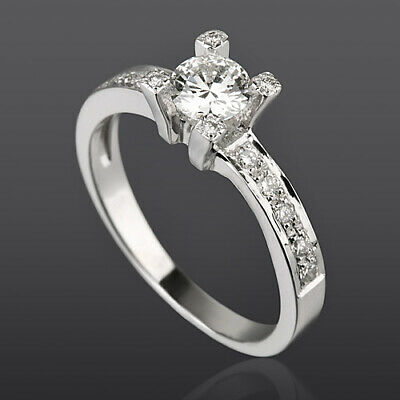Solitaire And Accents Diamond Ring 0.89 Ct Vvs1 18K White Gold Anniversary