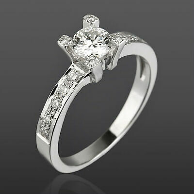 Channel Set Diamond Ring Solitaire Accented Authentic 18 Kt White Gold Women