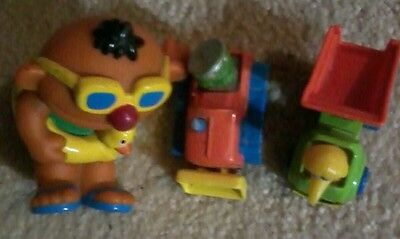 Vintage sesame street toys bath and toy cars collection lot set