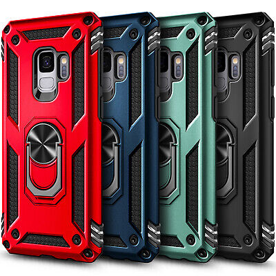 For Samsung Galaxy S9/S9 Plus Case Magnetic Ring Kickstand Military Armor Cover