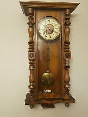Antique VIENNA WALL CLOCK Walnut Cased Key-Wind Pendulum Included chimes