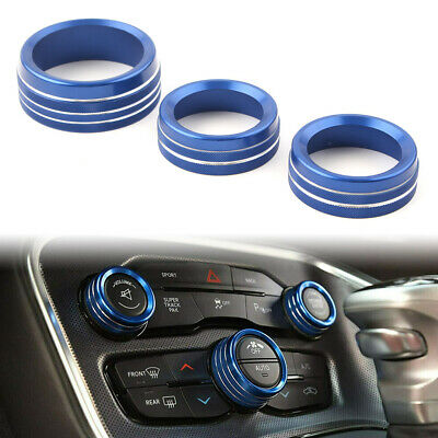 Lanyun for Dodge Challenger Charger Durango Accessories Air Conditioner Switch CD Button Knob Aluminum Alloy Interior Decoration Cover fit 2015-2020 Dodge Challenger Charger Chrysler 300 Blue