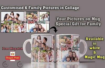 Father's Day Cup Family Collage 6 Photos Mug Personalised Special Custom Gift