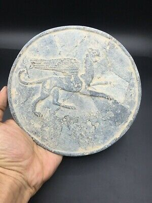 Rare Ancient Greek plate stone Greco-Bactrian Afghanistan 3th century