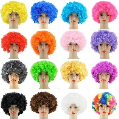 Afro Wig Curly Fancy Dress Adults Funky Disco Clown Style 70s Hair Mens Ladies