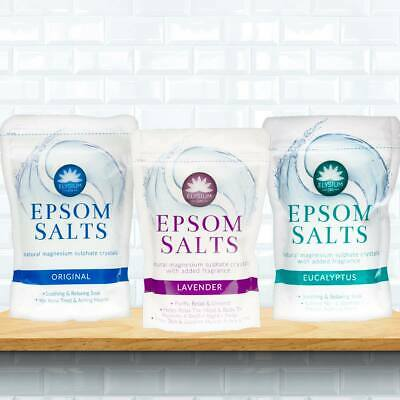 Elysium Spa Epsom Bath Salts Crystal 450g Natural Magnesium Sulphate Relaxing UK