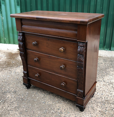 Antique Decorated Mahogany Victorian Chest Of Drawers