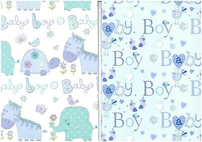 2 Sheets Gift Wrap BABY BOY or GIRL Wrapping Paper and 1 Tag
