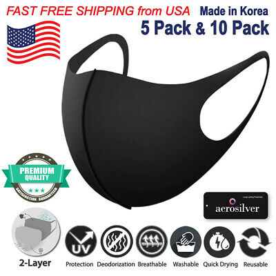 [5 & 10 Pack] Dr. Argen Breathable Washable 2-Layer Cloth Fabric Face Black Mask