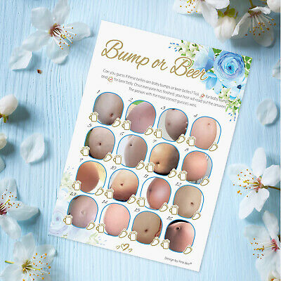 Baby Shower Game 20 Player - BUMP OR BEER - Blue FLORAL, Boho Boy Party Games
