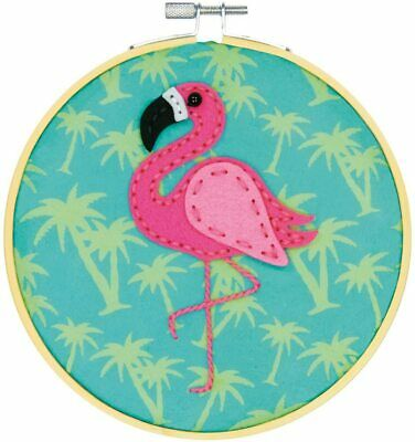 Dimensions Felt Applique Kit with Hoop: Flamingo, Various, One