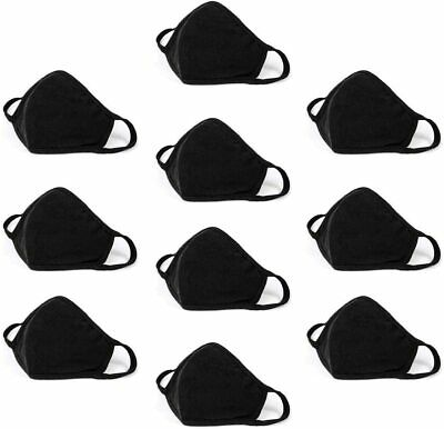10 Pack Mouth Cover, Washable Reusable Cotton Face Mask Soft Black - Made In USA