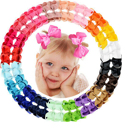 40pcs 4.5Inch Grosgrain Ribbon Hair Bows Alligator Clips for Baby Girls Toddlers