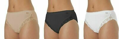 3 Pack LaMarquise Ladies High Leg Plain Maxi Briefs Knickers Cotton Comfort 1012