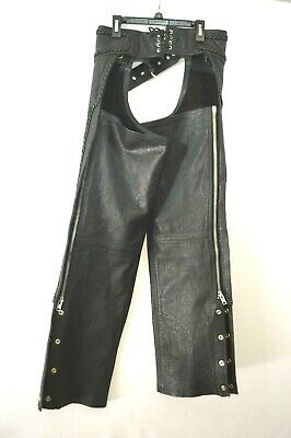 First Mfg Co Unisex-Adult Stampede Leather Motorcycle Chaps Black 4X-Large