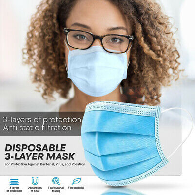 50 PC Face Mask{HEDE}Non Medical Surgical Disposable 3-Ply Elasticated Coverings