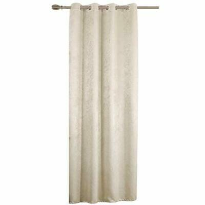 Luxury Damask Embossed Thermal Dimout Ringtop Eyelet Curtain Pair Silver Black