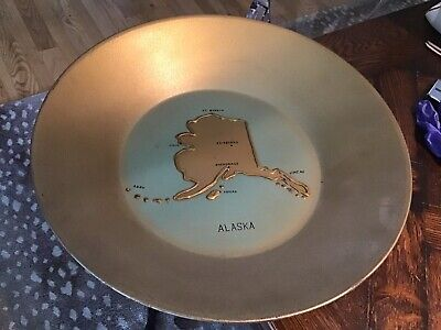 Vintage Souvenir Alaska Gold Miners PAN folk art MAP Art