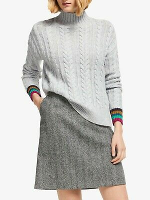 BODEN GRAY STRIPED Wool Blend Cropped Knit Sweater UK20US16
