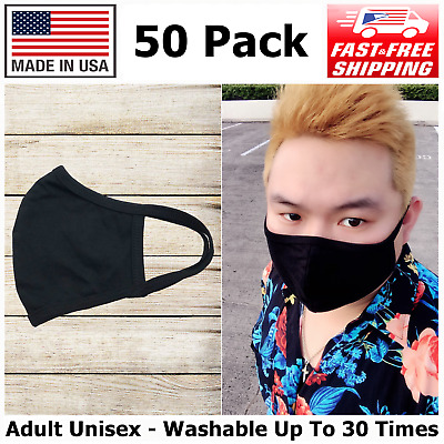 50 Pack High Quality Reusable Cotton Face Mask Adult Unisex, Made In USA, Black