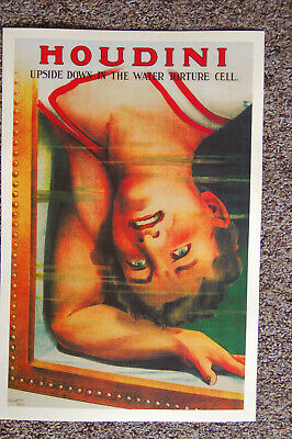 Harry Houdini magician poster #5 1915 Upside Down In The Water Torture Cell