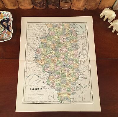 1861 IL MAP Chicago Heights Ridge Chillicothe Clarendon Hills Clinton ITS HUGE