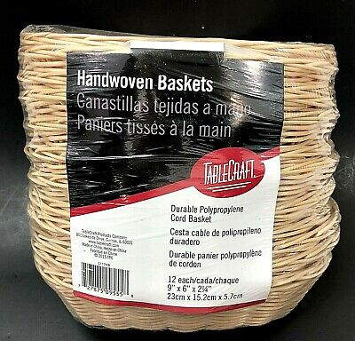 12 Pack of Oval Handwoven Baskets TABLECRAFT 1174W Polypropylene Cord NEW SEALED