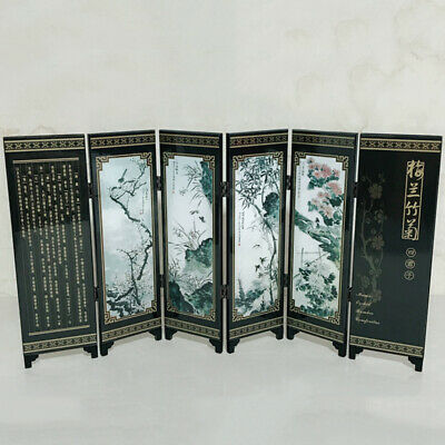 6-Panel Plum Flower Orchid Bamboo Screen Room Divider Wood Chinese Style Gift