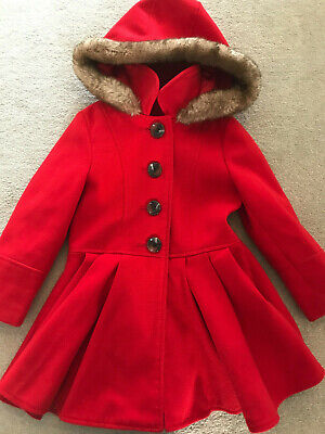 Mothercare Baby Girls' Wool Swing Coat Red