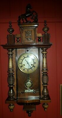 Antique R A  Pendulum Striking Vienna Wall Clock, German made with key