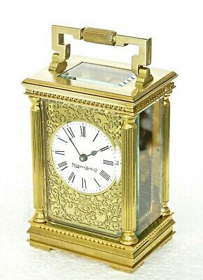 Superb Mappin & Webb Gilt Brass Carriage Clock Filigree Mask, Oiled & Works Well