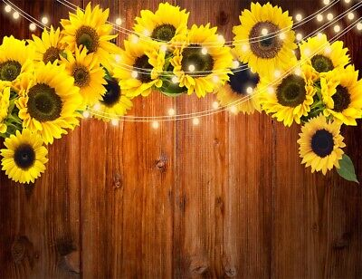10x8ft Vinyl Sunflowers Field Backdrops for Photography Background Summer Landscape Sunset Blue Sky Outdoor Holiday Party Backdrop Children Adults Portraits Photo Studio