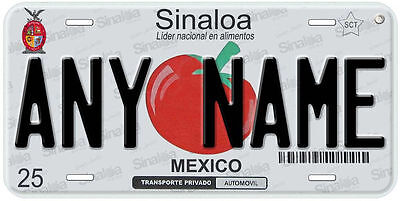 Sinaloa Mexico Any Name Number Text Novelty Auto License Plate C01