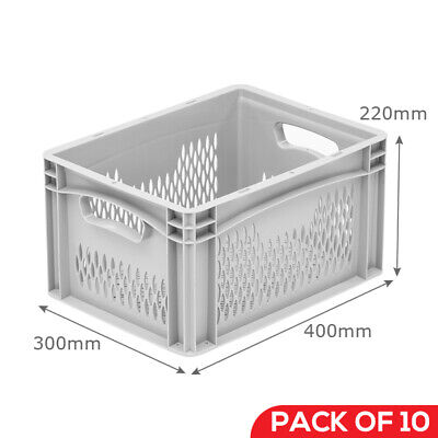 20No Stacking Tapered Euro Tote 570*380*290mm 60L Large Plastic Box Crate Tote