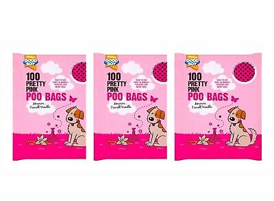 Doggy Poo Bag Pink Love Hearts 💕 Vanilla Scented Tie Handle x100pk X 3 PACKS