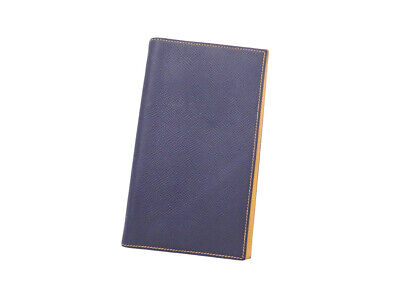Auth HERME Agenda/Note Cover Navy/Yellow Leather - e45677a