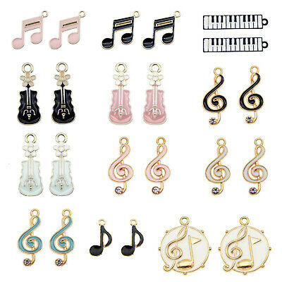 16PCS Enamel Plated Mixed Music Note G Clef 22x10mm Pendant Charms DIY Findings